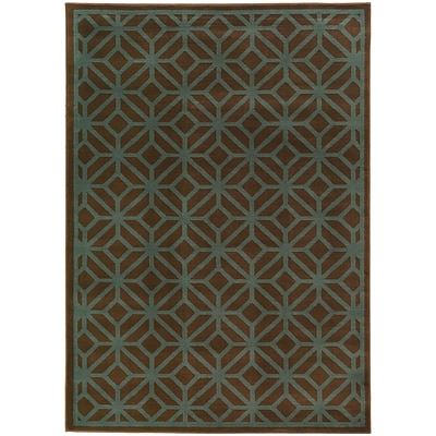 StyleHaven Transitional Geometric Tile Polypropylene 710X10 Brown/Blue Area Rug (WELA5188D8X10L)
