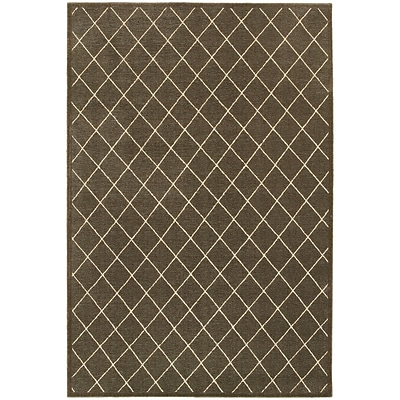 StyleHaven Lattice Polypropylene/ Polyester 710X1010 Brown/Ivory Area Rug (WELR090N48X11L)