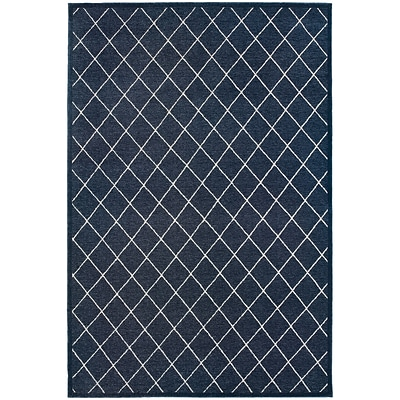 StyleHaven Transitional Lattice Polypropylene/Polyester 310X55 Navy/Ivory Rug (WELR090Q44X6L)