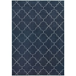StyleHaven Transitional Lattice Polypropylene/ Polyester 67X96 Navy/Ivory Area Rug WELR5994B6X9L