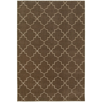 StyleHaven Transitional Lattice Polypropylene/Polyester 53X76 Brown/Ivory Rug (WELR5994N5X8L)