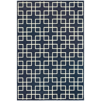 StyleHaven Transitional Lattice Polypropylene/Polyester 310X55 Navy/Ivory Rug (WELR6140B4X6L)