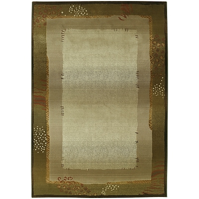 StyleHaven Transitional Border Polypropylene 67 X 91 Green/Beige Area Rug (WGNR112G16X9L)