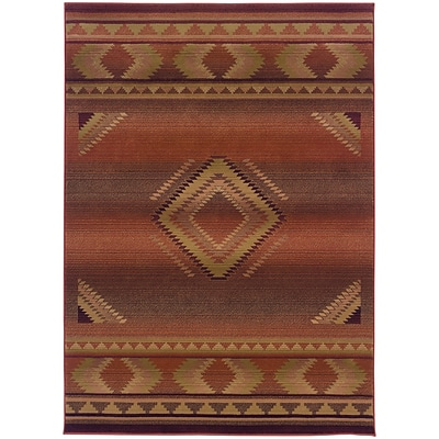 StyleHaven Transitional South West Lodge Polypropylene 67X91 Red/Beige Area Rug (WGNR1506C6X9L)