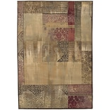 StyleHaven Distressed Patchwork Polypropylene 67X91 Green/Beige Area Rug