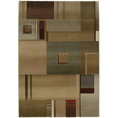 StyleHaven Contemporary Geometric Polypropylene 67 X 91 Green/Red Area Rug (WGNR157G16X9L)