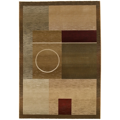 StyleHaven Contemporary Geometric Polypropylene 710 X 11 Green/Brown Area Rug (WGNR1987G8X11L)