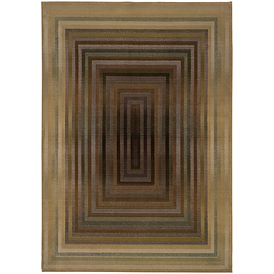 StyleHaven Contemporary Borders Polypropylene 67 X 91 Beige/Green Area Rug (WGNR281J26X9L)