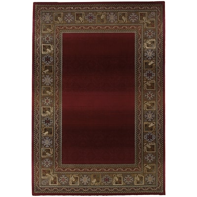 StyleHaven Transitional Border Polypropylene 67 X 91 Red/Green Area Rug (WGNR3436R6X9L)