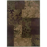 StyleHaven Transitional Botantical Blocks Polypropylene 53X76 Purple/Green Rug (WGNR8006A5X8L)