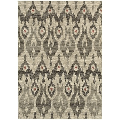 StyleHaven Transitional Tribal Ikat Polypropylene 53 X 76 Ivory/Grey Area Rug (WHIG6301E5X8L)