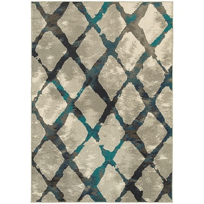 StyleHaven Contemporary Lattice Polypropylene 67 X 96 Grey/Blue Area Rug (WHIG6613A6X9L)