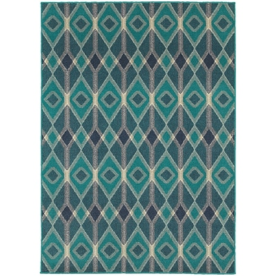 StyleHaven Transitional Diamonds Polypropylene 310 X 55 Blue/Teal Area Rug (WHIG6627B4X6L)