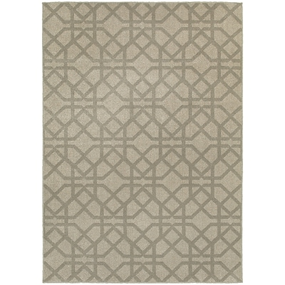 StyleHaven Transitional Lattice Polypropylene 310 X 55 Grey/Beige Area Rug (WHIG6638E4X6L)
