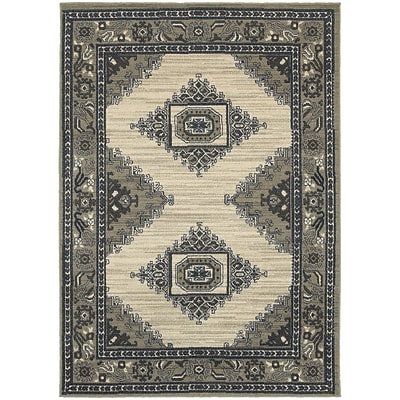 StyleHaven Traditional Medallion Polypropylene 67 X 96 Beige/Grey Area Rug (WHIG6658B6X9L)