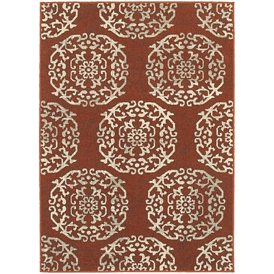 StyleHaven Transitional Floral Medallion Polypropylene 53X76 Red/Beige Area Rug (WHIG6672B5X8L)
