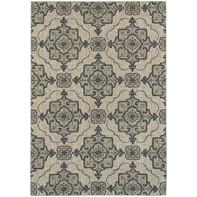StyleHaven Transitional Medallion Polypropylene 53 X 76 Beige/Grey Area Rug (WHIG6677A5X8L)