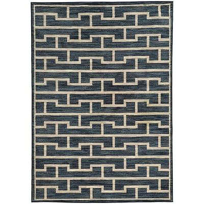 StyleHaven Casual Geometric Nylon 67 X 96 Blue/Beige Area Rug (WHRP461776X9L)