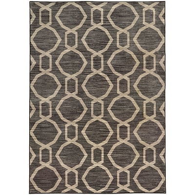 StyleHaven Casual Geometric Nylon 710 X 1010 Grey/Beige Area Rug (WHRP461798X11L)