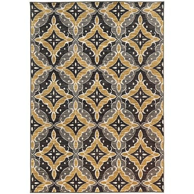 StyleHaven Casual Floral Nylon 710 X 1010 Charcoal/Gold Area Rug (WHRP461818X11L)