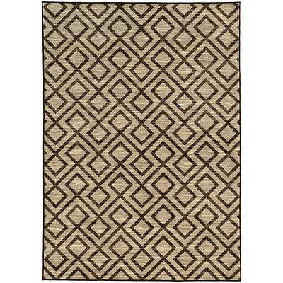 StyleHaven Casual Geometric Nylon 53 X 76 Beige/Brown Area Rug (WHRP682845X8L)