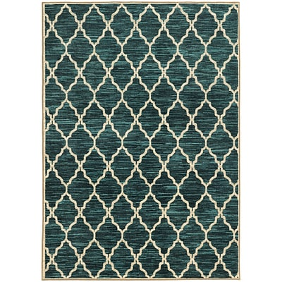 StyleHaven Casual Geometric Nylon 53 X 76 Teal/Ivory Area Rug (WHRP792795X8L)