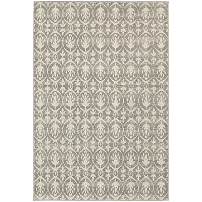 StyleHaven Distressed Leaf Pattern Polypropylene 53X76 Grey/Ivory Area Rug (WHTN194E55X8L)