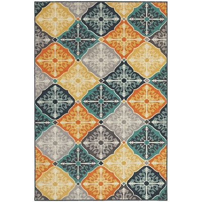 StyleHaven Transitional Floral Panel Polypropylene 710X1010 Multi/Blue Area Rug (WHTN2063X8X11L)
