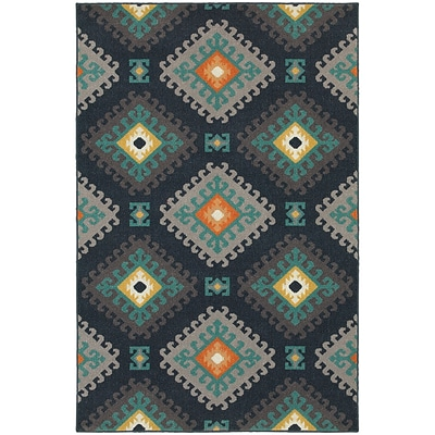 StyleHaven Transitional Geometric Tribal Polypropylene 53X76 Navy/Grey Area Rug (WHTN4929B5X8L)