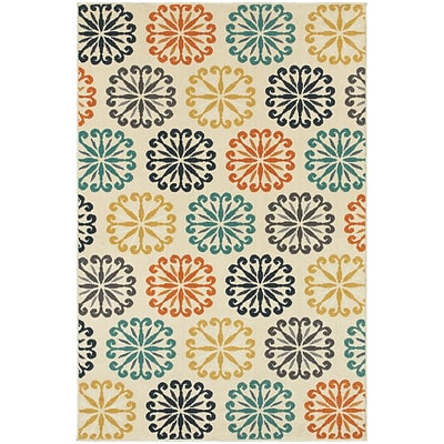 StyleHaven Transitional Floral Circles Polypropylene 710X1010 Ivory/Multi Rug (WHTN501W58X11L)