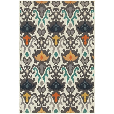 StyleHaven Transitional Floral Tribal Ikat Polypropylene 53X76 Ivory/Multi Rug (WHTN530W55X8L)