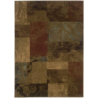 StyleHaven Transitional Botantical Blocks Polypropylene 310X55 Green/Red Area Rug WHUD036G14X6L