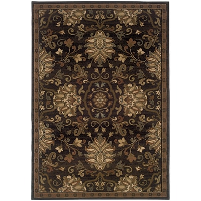 StyleHaven Transitional Traditional Polypropylene 53 X 76 Brown/Beige Area Rug (WHUD042G15X8L)