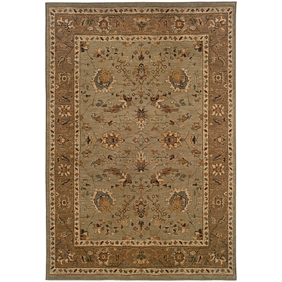 StyleHaven Traditional Nylon 310 X 55 Green/Tan Area Rug (WINF1104C4X6L)