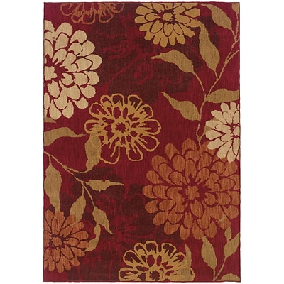 StyleHaven Transitional Floral Nylon 310 X 55 Red/Beige Area Rug (WINF1134D4X6L)