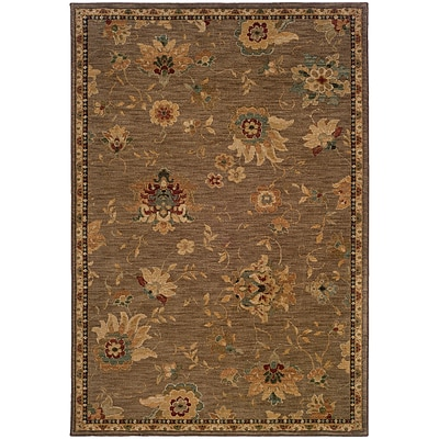StyleHaven Transitional Floral Nylon 53 X 76 Tan/Beige Area Rug (WINF1151E5X8L)