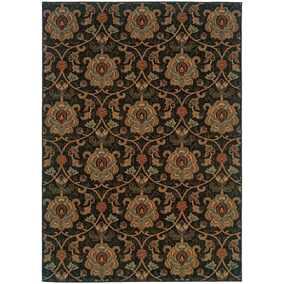 StyleHaven Transitional Floral Nylon 67 X 96 Black/Gold Area Rug (WINF1724E6X9L)