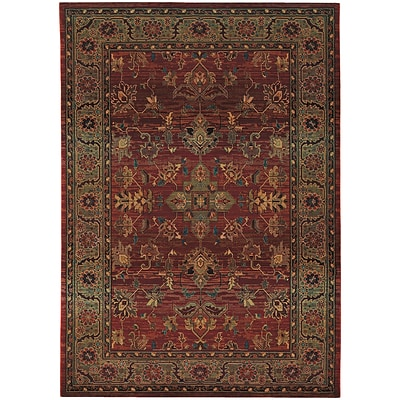StyleHaven Traditional Polypropylene 53 X 76 Red/Green Area Rug (WKHA836C45X8L)