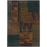 StyleHaven Contemp Distressed Patchwork Polypropylene 67X91 Blue/Green Area Rug