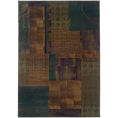 StyleHaven Contemp Distressed Patchwork Polypropylene 710X11 Blue/Green Area Rug (WKHR703X48X11L)