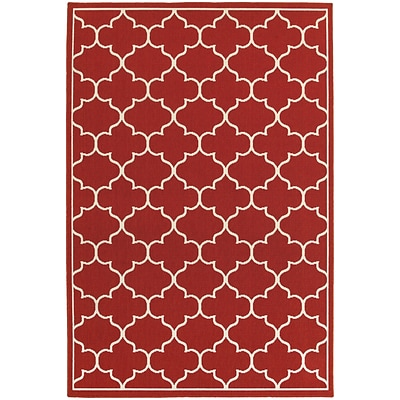 StyleHaven Outdoor Lattice Polypropylene 710 X 1010 Red/Ivory Area Rug (WMEI1295R8X11L)