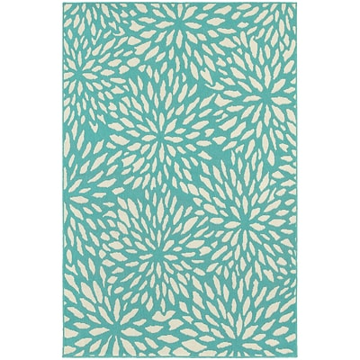 StyleHaven Outdoor Floral Polypropylene 37 X 56 Blue/Ivory Area Rug (WMEI1506L4X6L)