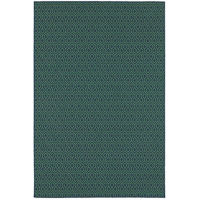 StyleHaven Outdoor Geometric Polypropylene 53 X 76 Navy/Green Area Rug (WMEI1634Q5X8L)