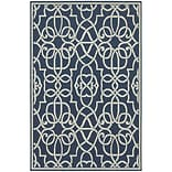 StyleHaven Outdoor Geometric Polypropylene 53 X 76 Navy/Ivory Area Rug