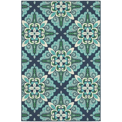 StyleHaven Outdoor Medallion Polypropylene 67 X 96 Blue/Green Area Rug (WMEI2206B6X9L)