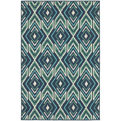 StyleHaven Outdoor Geometric Polypropylene 53 X 76 Navy/Green Area Rug (WMEI2209B5X8L)