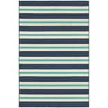 StyleHaven Outdoor Stripe Polypropylene 67 X 96 Blue/Ivory Area Rug