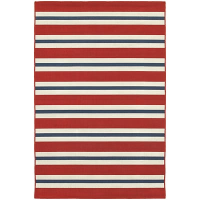 StyleHaven Outdoor Stripe Polypropylene 37 X 56 Red/Blue Area Rug (WMEI5701R4X6L)
