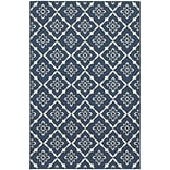 StyleHaven Outdoor Lattice Polypropylene 53 X 76 Navy/Ivory Area Rug (WMEI5703B5X8L)