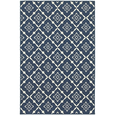 StyleHaven Outdoor Lattice Polypropylene 37 X 56 Navy/Ivory Area Rug (WMEI5703B4X6L)